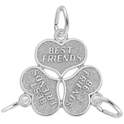 Sterling Silver Three Best Friends Hearts Charm by Rembrandt Charms