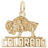 Gold Plate Buffalo Colorado Charm by Rembrandt Charms