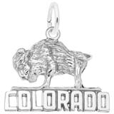14K White Gold Buffalo Colorado Charm by Rembrandt Charms