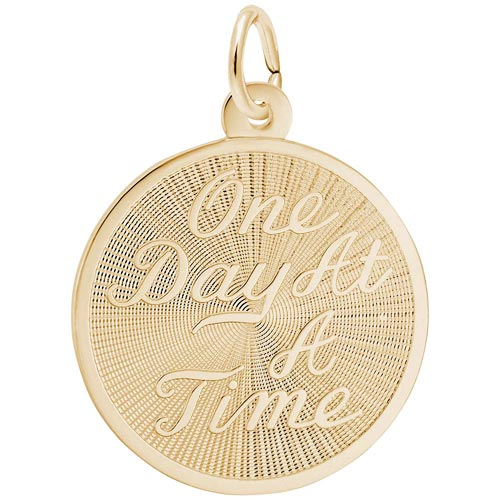 14k Gold One Day At A Time Disc Charm by Rembrandt Charms
