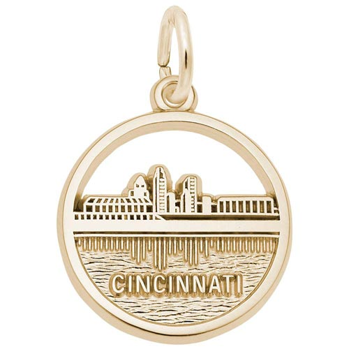 Gold Plated Cincinnati Skyline Charm by Rembrandt Charms