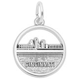 14K White Gold Cincinnati Skyline Charm by Rembrandt Charms