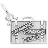 14K White Gold Suitcase Charm by Rembrandt Charms