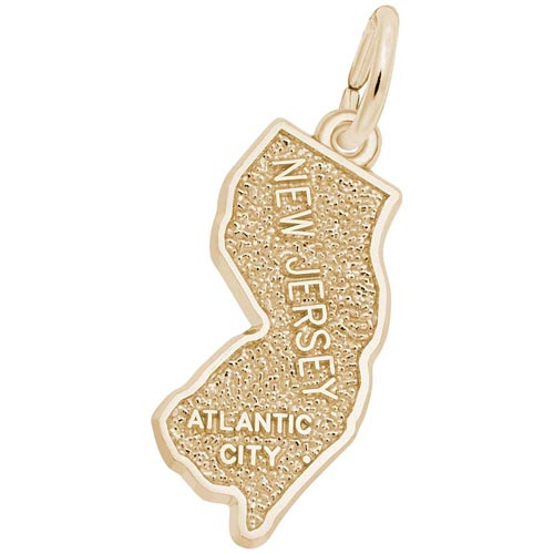 Gold Plated Atlantic City, New Jersey Charm by Rembrandt Charms