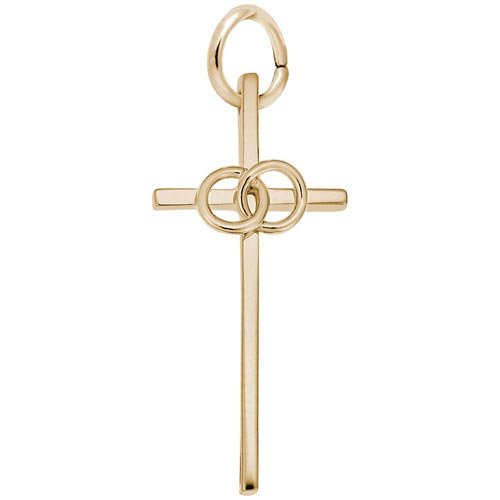 14K Gold Wedding Cross Charm by Rembrandt Charms