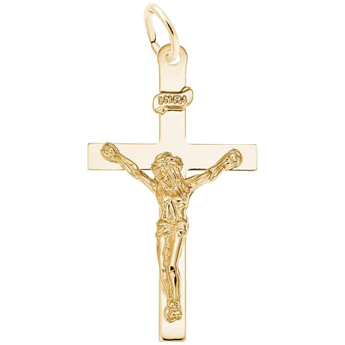 14K Gold Crucifix Charm by Rembrandt Charms