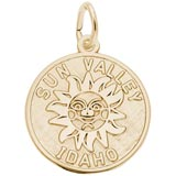 Gold Plated Sun Valley Idaho Charm by Rembrandt Charms