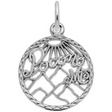 14K White Gold Pocono Mountains Faceted Charm by Rembrandt Charms