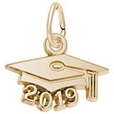 10K Gold 2019 Graduation Cap Accent Charm