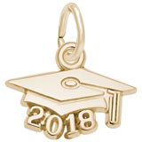 10K Gold 2018 Graduation Cap Accent Charm