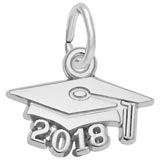 14K White Gold 2018 Graduation Cap Accent Charm
