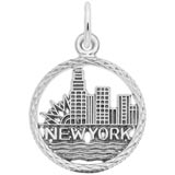 14k White Gold New York Skyline Charm by Rembrandt Charms