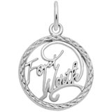 14K White Gold Fort Worth Faceted Charm by Rembrandt Charms