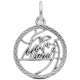 14K White Gold Miami Faceted Charm by Rembrandt Charms