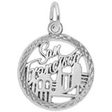 14K White Gold San Francisco Faceted Charm by Rembrandt Charms