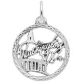 14K White Gold Washington D.C. Faceted Charm by Rembrandt Charms