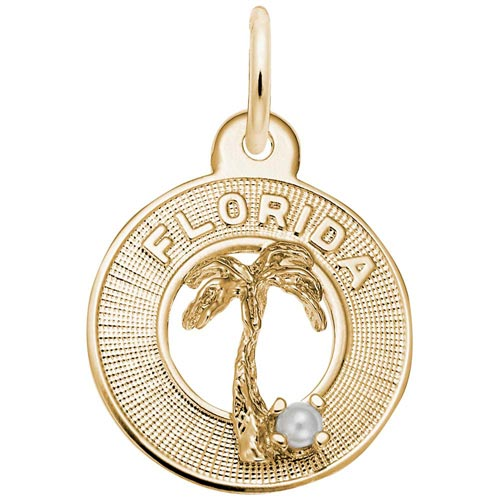 Gold Plated Florida Palm and Pearl Charm by Rembrandt Charms