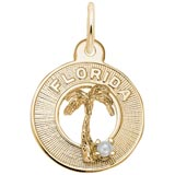 Gold  Florida Palm and Pearl Charm by Rembrandt Charms