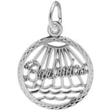 14K White Gold Barbados Faceted Charm by Rembrandt Charms