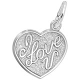 14K White Gold I Love You Heart Charm by Rembrandt Charms