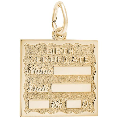 14K Gold Birth Certificate Charm by Rembrandt Charms