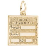 Gold Plate Birth Certificate Charm by Rembrandt Charms
