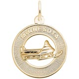 14K Gold Minnesota Snow Mobile Charm by Rembrandt Charms