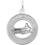 14K White Gold Minnesota Snow Mobile Charm by Rembrandt Charms