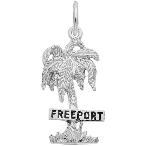14K White Gold Freeport Palm Tree Charm by Rembrandt Charms