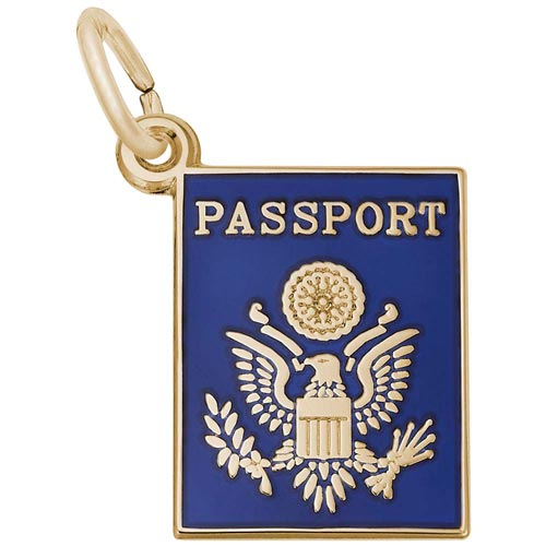 Gold Plated Passport Charm by Rembrandt Charms