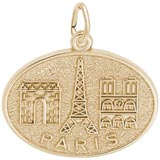 10K Gold Paris France Monuments Charm by Rembrandt Charms