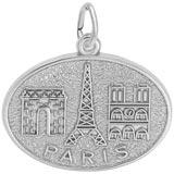 14K White Gold Paris France Monuments Charm by Rembrandt Charms