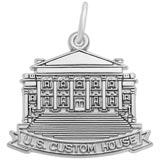 14K White Gold US Custom House Charm by Rembrandt Charms