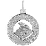 14K White Gold Key West Conch Shell Ring Charm by Rembrandt Charms