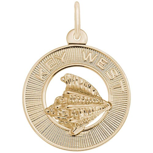 14K Gold Key West Conch Shell Ring Charm by Rembrandt Charms