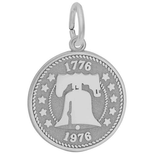 14K White Gold Liberty Bell Charm by Rembrandt Charms