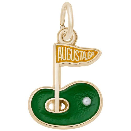 Gold Plated Augusta GA Golf Green Charm by Rembrandt Charms
