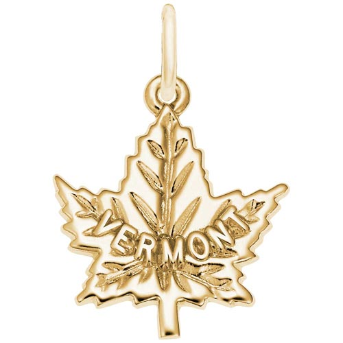 14K Gold Vermont Maple leaf Charm by Rembrandt Charms
