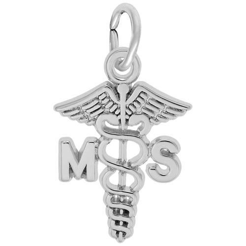 14K White Gold Medical Secretary Caduceus by Rembrandt Charms
