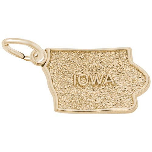 10K Gold Iowa State Map Charm by Rembrandt Charms