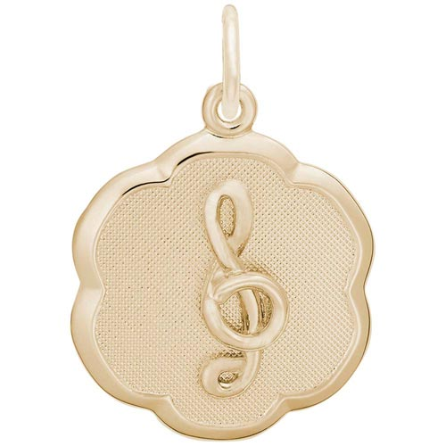 Gold Plate Treble Clef Scalloped Charm by Rembrandt Charms