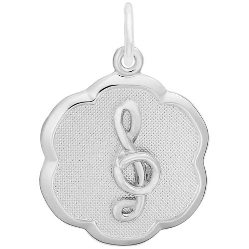 14K White Gold Treble Clef Scalloped Charm by Rembrandt Charms