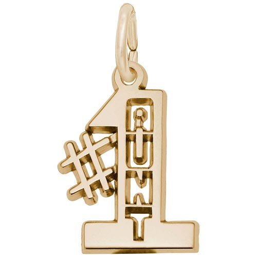 Gold Plate Number One Aunt Charm by Rembrandt Charms