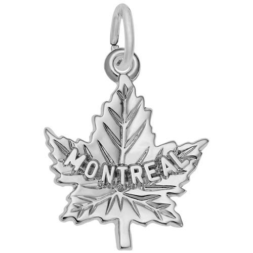 14K White Gold Montreal Maple Leaf Charm by Rembrandt Charms