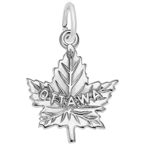 14K White Gold Ottawa Maple Leaf Charm by Rembrandt Charms