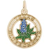 Gold Plate Texas Bluebonnets Charm