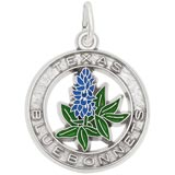 14K White Gold Texas Bluebonnets Charm