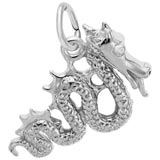 14K White Gold Serpent Dragon Charm by Rembrandt Charms