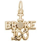 Gold Plated Golf Charm I Broke 100 by Rembrandt Charms