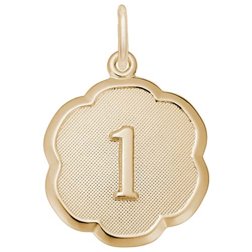 Gold Plate Number One Scalloped Disc Charm by Rembrandt Charms